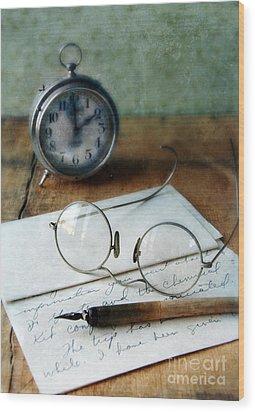 Letter Pen Glasses And Clock Wood Print by Jill Battaglia