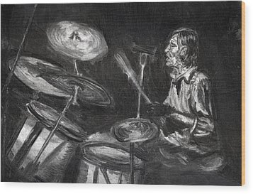 Wood Print featuring the drawing Levon Helm In Charcoal by Denny Morreale