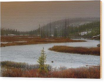 Lewis River - Yellowstone National Park Wood Print by Ellen Heaverlo