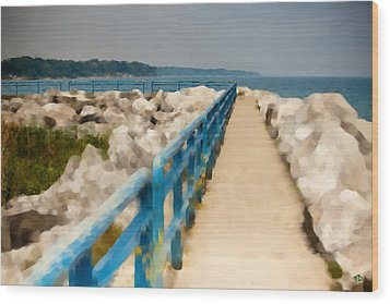 Lexington Harbor Boardwalk Wood Print by Paul Bartoszek