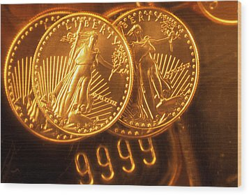 Liberty Gold Coins Wood Print by Lyle Leduc