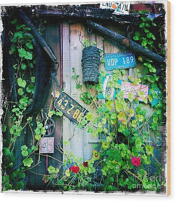 Wood Print featuring the photograph License Plate Wall by Nina Prommer