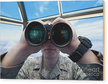 Lieutenant Uses Binoculars To Scan Wood Print by Stocktrek Images