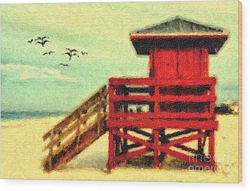 Wood Print featuring the photograph Life Guard Station by Gina Cormier