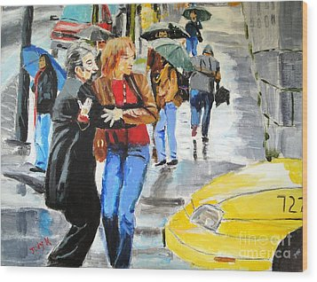 Wood Print featuring the painting Life In The Big City by Judy Kay