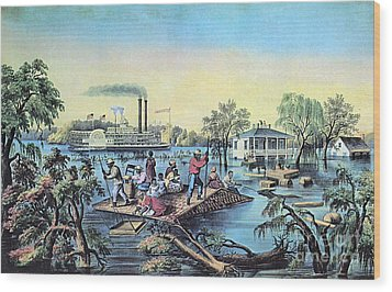 Life On The Mississippi, 1868 Wood Print by Photo Researchers
