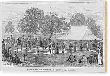 Life-sized Chess, 1882 Wood Print by Granger