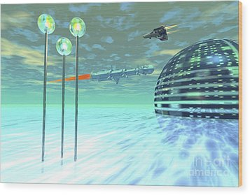 Life Under Domes On An Alien Waterworld Wood Print by Corey Ford