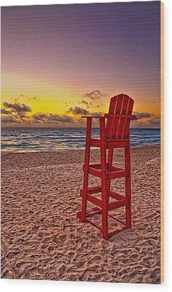 Lifeguard Chair Wood Print by Brian Mollenkopf