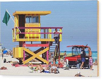 Lifeguard Hut Wood Print by Dieter  Lesche