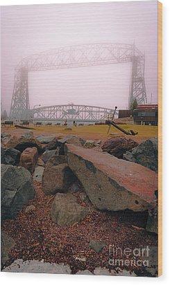Lift Bridge In Spring Fog Wood Print