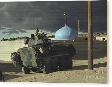 Light Armored Vehicle Commander Mans Wood Print by Stocktrek Images