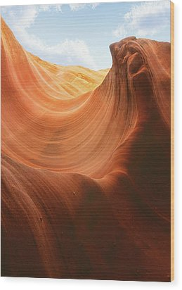 Light At The End Of The Tunnel - Antelope Canyon Az Wood Print by Christine Till