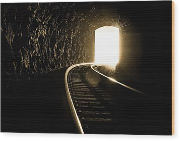 Light At The End Of The Tunnel Wood Print by Joye Ardyn Durham
