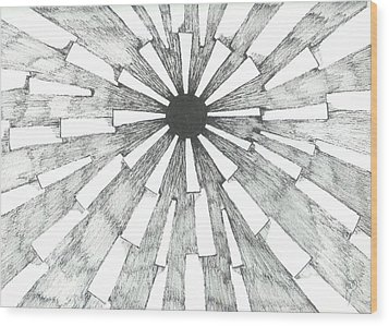 Light In The Dark - Sketch Wood Print by Robert Meszaros