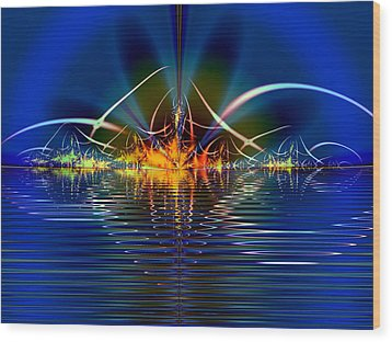 Wood Print featuring the digital art Light On The Water by Mario Carini