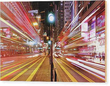 Light Trails Wood Print by Andi Andreas