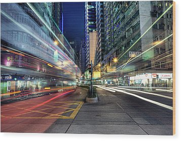 Light Trails On Street At Night Wood Print by Thank you for choosing my work.