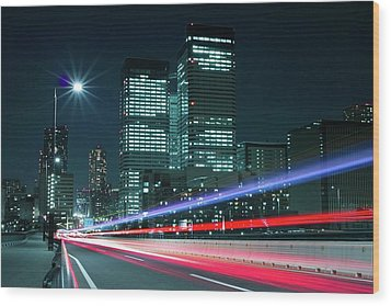 Light Trails On The Street In Tokyo Wood Print by >>>>sample Image>>>>>>>>>>>>>>