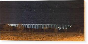 Lighted High Level Bridge Wood Print by Tom Buchanan