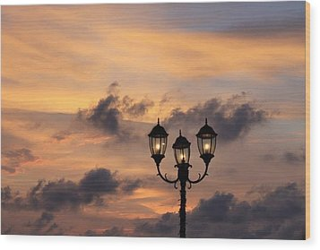 Lighted Sky Wood Print by Michael Green