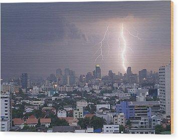 Lightening Strikes Bangkok Wood Print by Gregory Smith