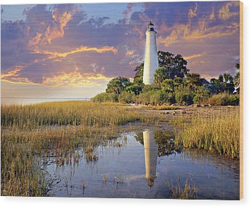 Lighthous Reflection 1 Wood Print by Marty Koch