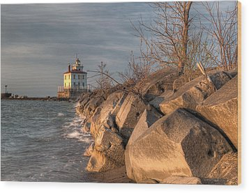 Lighthouse And Breakwall In Evening Light Wood Print by At Lands End Photography