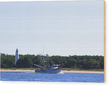 Lighthouse And Shrimp Boat Wood Print