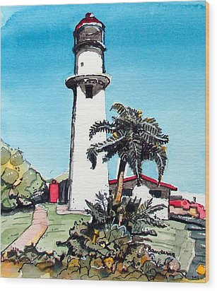 Wood Print featuring the painting Lighthouse At Diamond Head by Terry Banderas