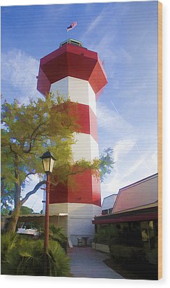 Lighthouse At Hilton Head Wood Print by Gregory Scott