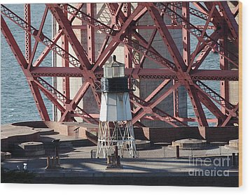 Lighthouse Atop Fort Point Next To The San Francisco Golden Gate Bridge - 5d19001 Wood Print by Wingsdomain Art and Photography