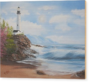 Lighthouse By The Sea Wood Print