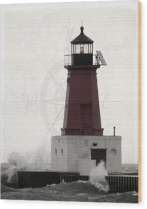 Lighthouse Compass Wood Print