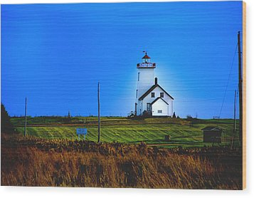 Lighthouse In Darkness Wood Print by Rick Bragan