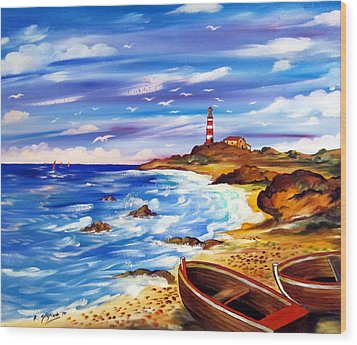 Wood Print featuring the painting Lighthouse Island by Roberto Gagliardi