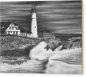 Lighthouse Wood Print by Jerry Winick