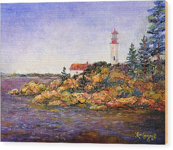 Wood Print featuring the painting Lighthouse by Lou Ann Bagnall
