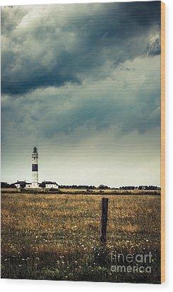 Lighthouse Of Kampen -vintage Wood Print by Hannes Cmarits