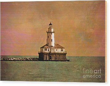 Lighthouse Off Navy Pier Wood Print by Mary Machare