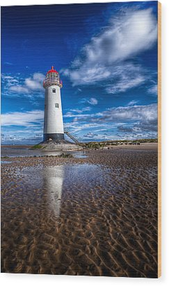 Lighthouse Reflections Wood Print by Adrian Evans