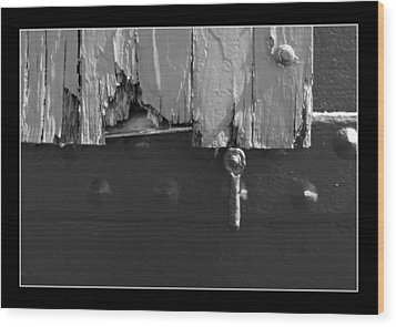 Wood Print featuring the photograph Lighthouse Shutter Black And White by Darleen Stry