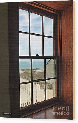 Lighthouse Window Wood Print by Methune Hively