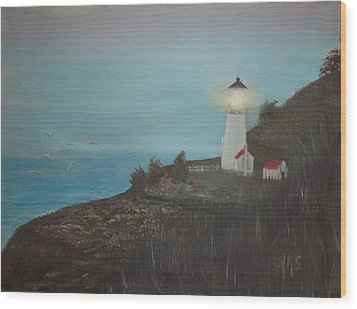 Wood Print featuring the painting Lighthouse With Birds by Angela Stout