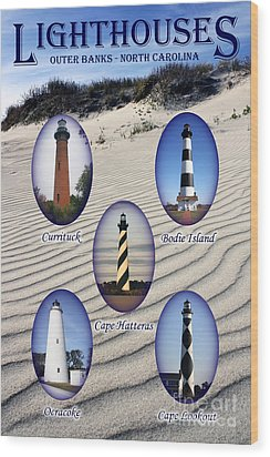 Wood Print featuring the photograph Lighthouses Of The Outer Banks by Tony Cooper