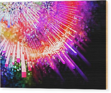 Lighting Explode Wood Print by Setsiri Silapasuwanchai