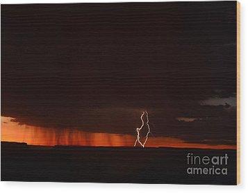 Lightning At The Grand Canyon Wood Print