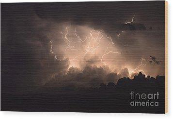 Lightning Wood Print by Bob Christopher