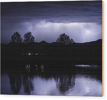 Lightning Over Coot Lake Wood Print by James BO  Insogna