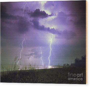 Lightning Over Florida Wood Print by Keith Kapple